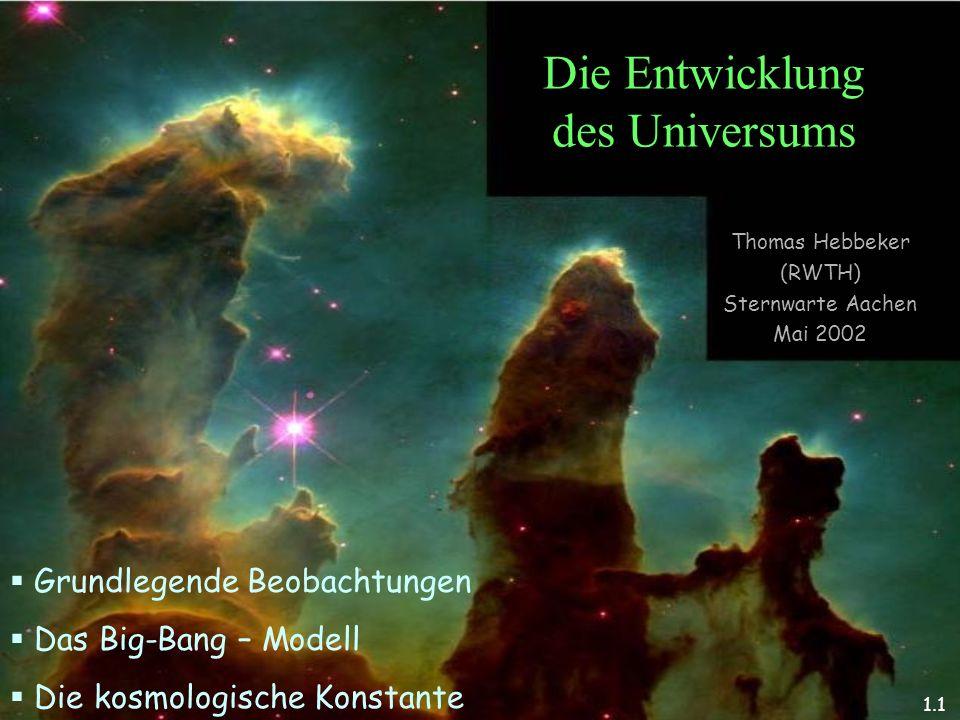 T.Hebbeker Die Entwicklung des Universums Thomas Hebbeker (RWTH) Sternwarte Aachen Mai 2002 Grundlegende Beobachtungen Das Big-Bang – Modell Die kosmo