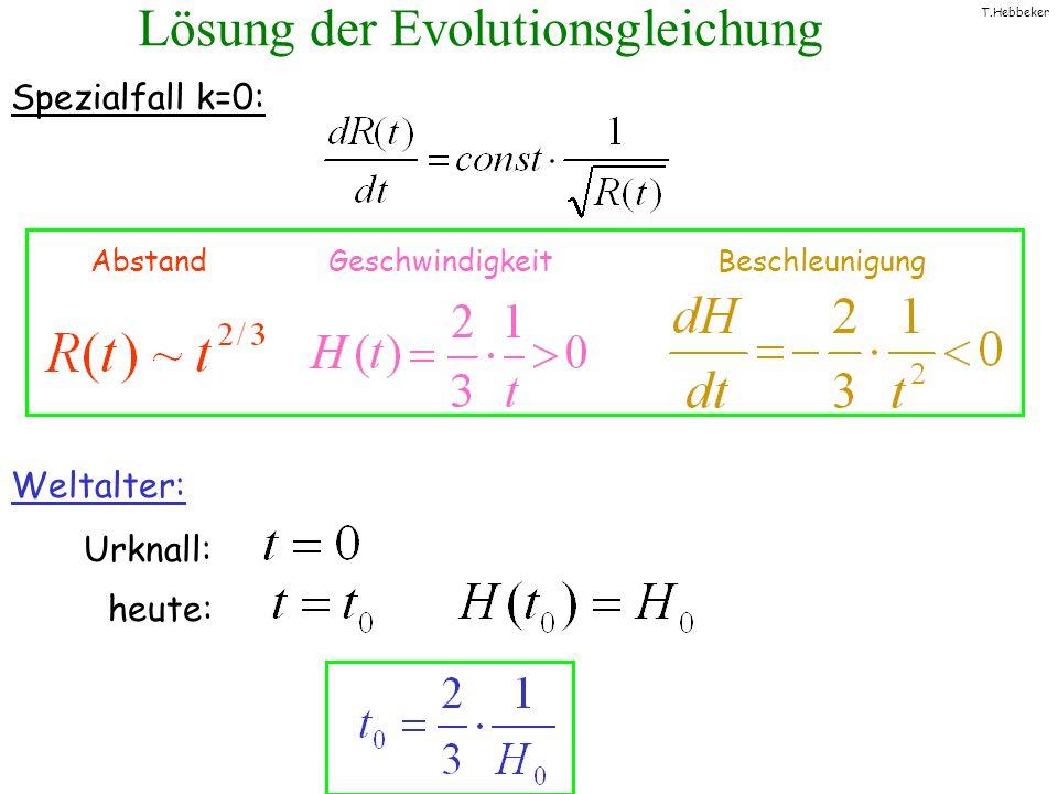 T.Hebbeker Lösung der Evolutionsgleichung Spezialfall k=0: Weltalter: Urknall: heute: Abstand Geschwindigkeit Beschleunigung