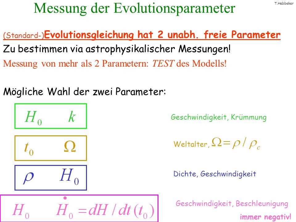 T.Hebbeker Messung der Evolutionsparameter (Standard-) Evolutionsgleichung hat 2 unabh. freie Parameter Zu bestimmen via astrophysikalischer Messungen