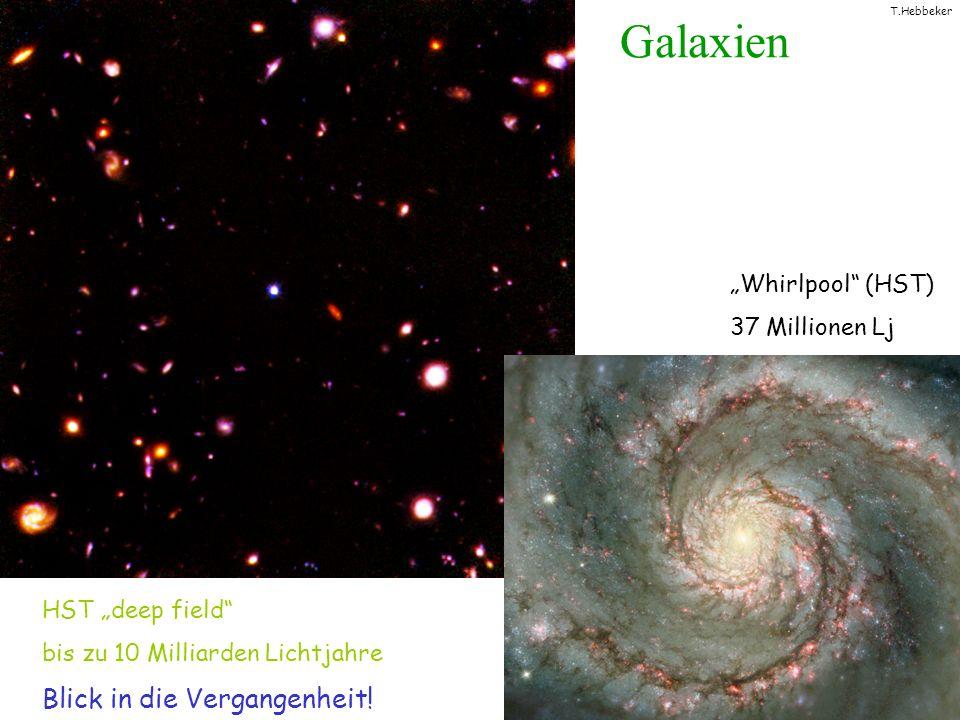 T.Hebbeker Bestimmung der Raumkrümmung Messung der Raumkrümmung: Winkel: flach offen geschlossen Methode: - Berechnung der Distanz d zwischen 2 kosmischen Objekten im bekannten (grossen!) Abstand r - Messung, unter welchem Winkel die beiden Objekte erscheinen - Vergleich von mit d / r d r