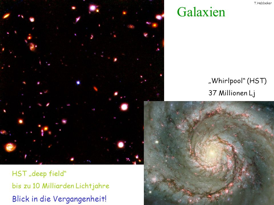 T.Hebbeker Anhang: Dunkle Materie in/um Galaxien Rotationsgeschwindigkeit v(r) via Doppler-Effekt: v(r) ist Maß für eingeschlossene Masse .