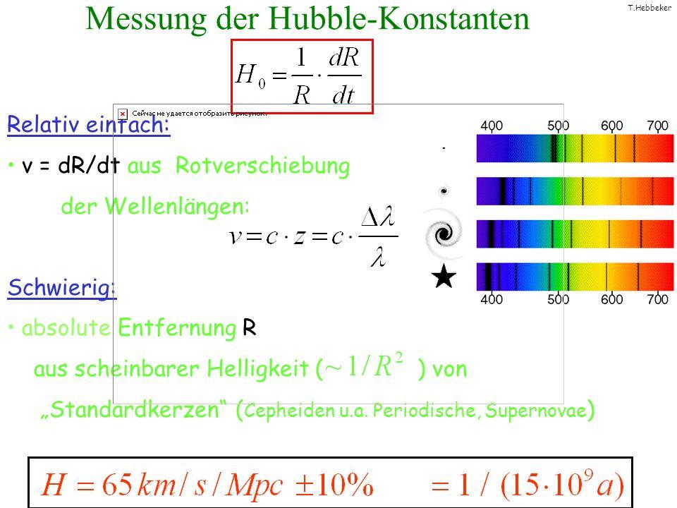 T.Hebbeker Messung der Hubble-Konstanten Relativ einfach: v = dR/dt aus Rotverschiebung der Wellenlängen: Schwierig: absolute Entfernung R aus scheinb