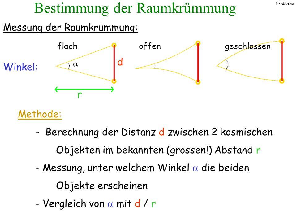 T.Hebbeker Bestimmung der Raumkrümmung Messung der Raumkrümmung: Winkel: flach offen geschlossen Methode: - Berechnung der Distanz d zwischen 2 kosmis