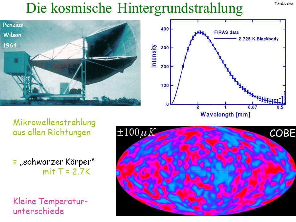 T.Hebbeker Die kosmische Hintergrundstrahlung Mikrowellenstrahlung aus allen Richtungen = schwarzer Körper mit T = 2.7K Kleine Temperatur- unterschied