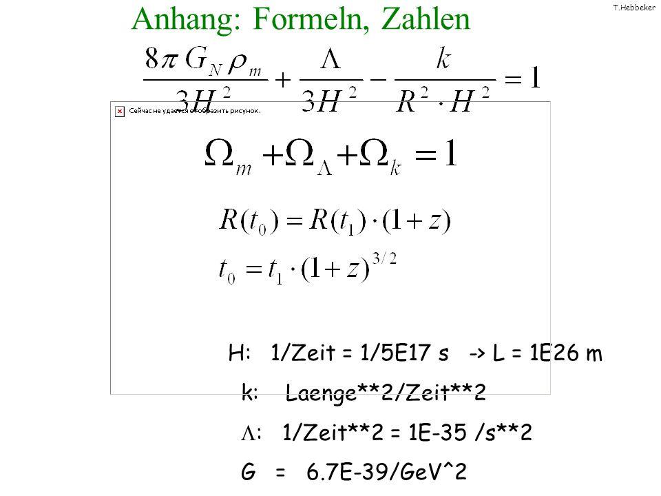 T.Hebbeker Anhang: Formeln, Zahlen H: 1/Zeit = 1/5E17 s -> L = 1E26 m k: Laenge**2/Zeit**2 : 1/Zeit**2 = 1E-35 /s**2 G = 6.7E-39/GeV^2