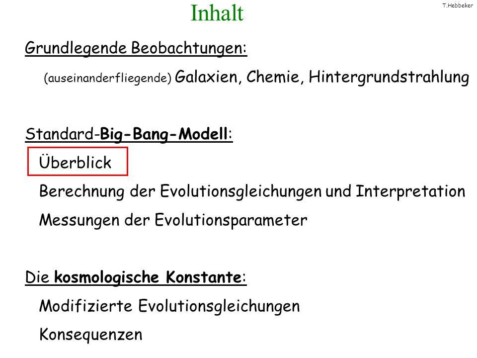 T.Hebbeker Das Big-Bang - Modell Der Raum expandiert Anfang: Big Bang Einsteins allgemeine Relativitätstheorie Astrophysikalische Beobachtungen + = Hintergrundstrahlung Rotverschiebung Chemie