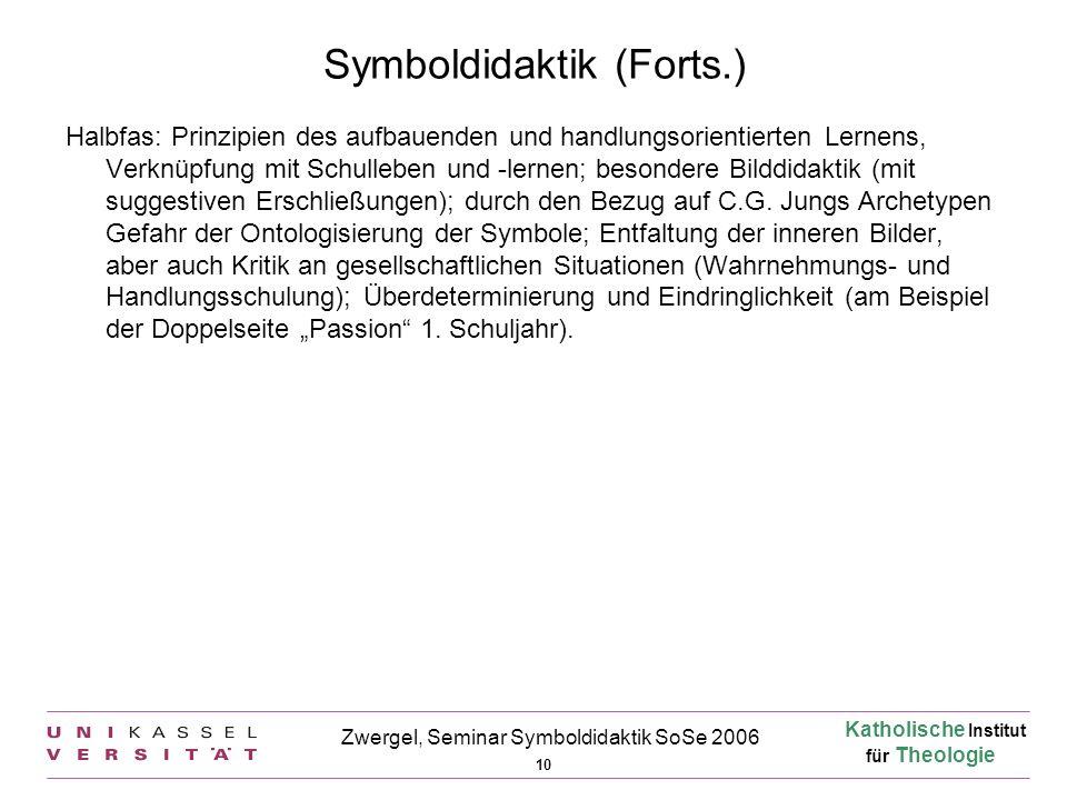 Katholische Institut für Theologie 10 Zwergel, Seminar Symboldidaktik SoSe 2006 Symboldidaktik (Forts.) Halbfas: Prinzipien des aufbauenden und handlu