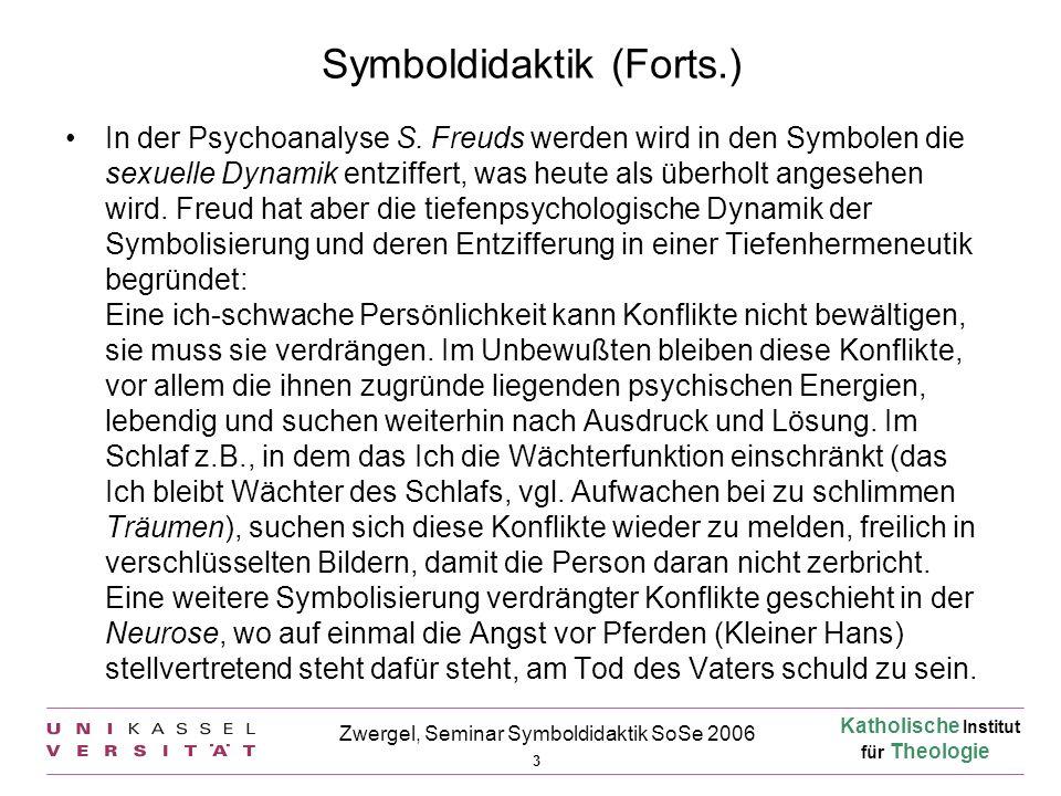 Katholische Institut für Theologie 4 Zwergel, Seminar Symboldidaktik SoSe 2006 Symboldidaktik (Forts.) Die Neopsychoanalyse befreit sich von der Dominanz sexueller Deutungsmuster in der Symbolik und stellt die Ich-Problematik ins Zentrum.
