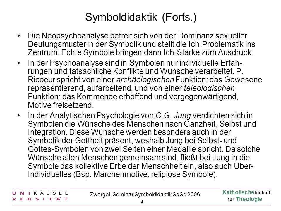 Katholische Institut für Theologie 4 Zwergel, Seminar Symboldidaktik SoSe 2006 Symboldidaktik (Forts.) Die Neopsychoanalyse befreit sich von der Domin