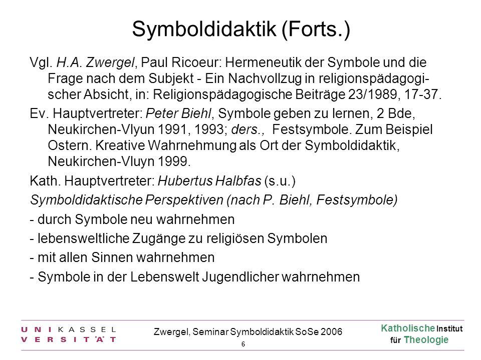 Katholische Institut für Theologie 6 Zwergel, Seminar Symboldidaktik SoSe 2006 Symboldidaktik (Forts.) Vgl. H.A. Zwergel, Paul Ricoeur: Hermeneutik de