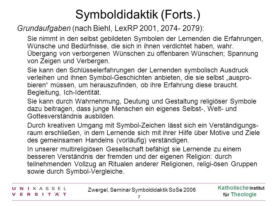 Katholische Institut für Theologie 7 Zwergel, Seminar Symboldidaktik SoSe 2006 Symboldidaktik (Forts.) Grundaufgaben (nach Biehl, LexRP 2001, 2074- 20