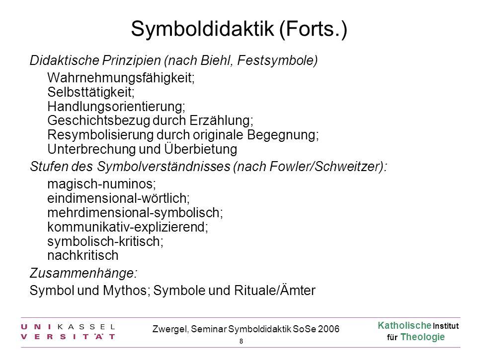 Katholische Institut für Theologie 8 Zwergel, Seminar Symboldidaktik SoSe 2006 Symboldidaktik (Forts.) Didaktische Prinzipien (nach Biehl, Festsymbole