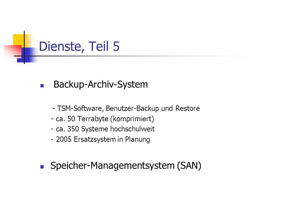 Dienste, Teil 5 Backup-Archiv-System - TSM-Software, Benutzer-Backup und Restore - ca.