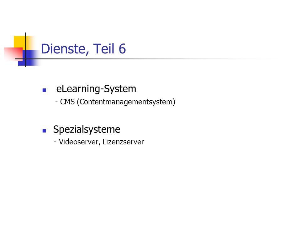 Dienste, Teil 6 eLearning-System - CMS (Contentmanagementsystem) Spezialsysteme - Videoserver, Lizenzserver