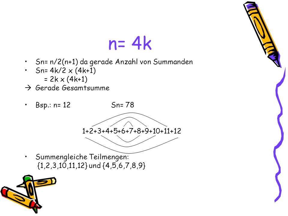 n= 4k Sn= n/2(n+1) da gerade Anzahl von Summanden Sn= 4k/2 x (4k+1) = 2k x (4k+1) Gerade Gesamtsumme Bsp.: n= 12Sn= 78 1+2+3+4+5+6+7+8+9+10+11+12 Summengleiche Teilmengen: {1,2,3,10,11,12} und {4,5,6,7,8,9}