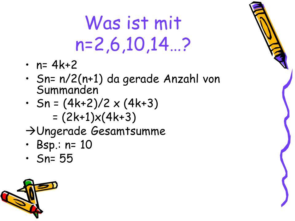Was ist mit n=2,6,10,14….