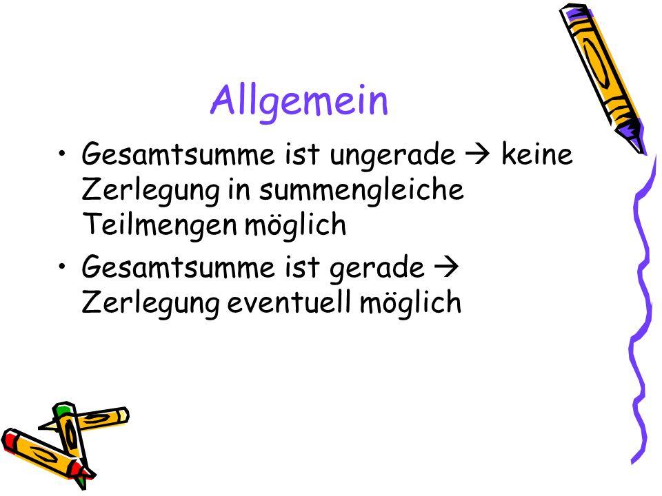 Fall 1: Gerade Anzahl von Summanden Bsp.: n=8 1+2+3+4+5+6+7+8 Pärchenanzahl = n/2, also hier 4 Pärchensumme = n+1, also hier 9 Gesamtsumme= Pärchenanzahl x Pärchensumme Sn= n/2 x (n+1) Hier: 8/2 x (8+1) = 36 summengleiche Teilmengen: {1,8,2,7} und {3,6,4,5}