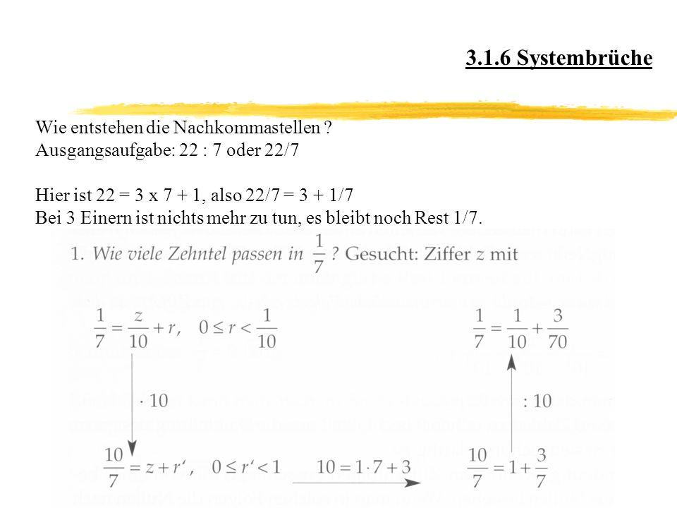 3.1.6 Systembrüche Wie entstehen die Nachkommastellen .