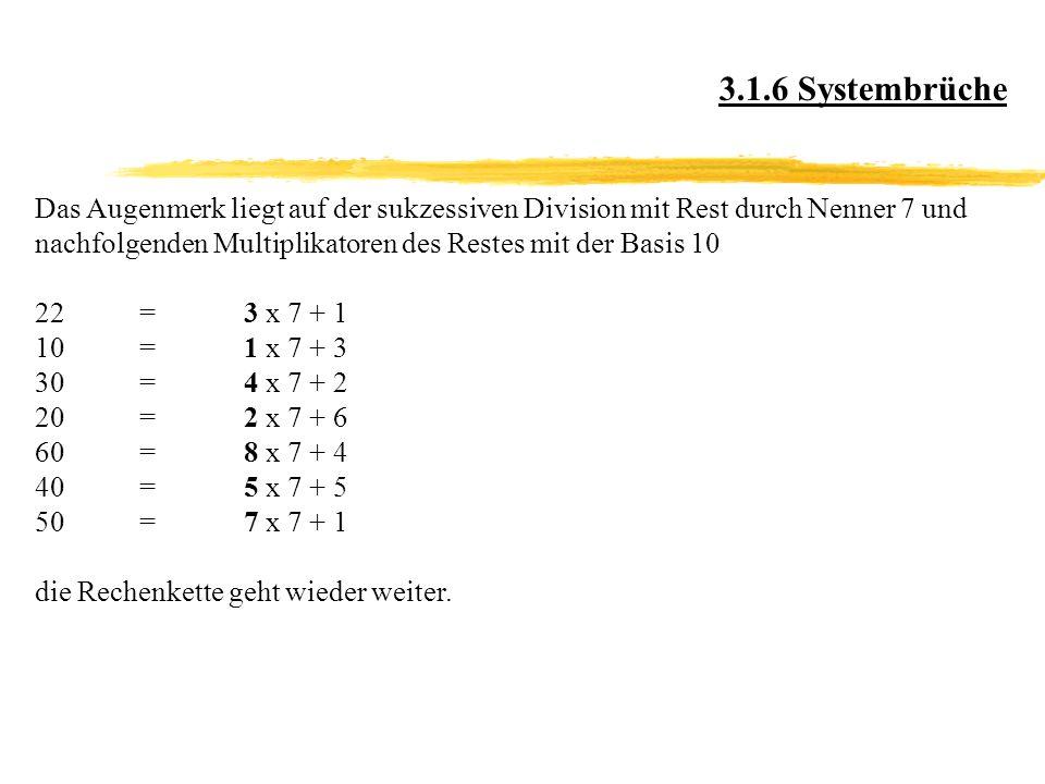 Das Augenmerk liegt auf der sukzessiven Division mit Rest durch Nenner 7 und nachfolgenden Multiplikatoren des Restes mit der Basis 10 22=3 x 7 + 1 10=1 x 7 + 3 30=4 x 7 + 2 20=2 x 7 + 6 60=8 x 7 + 4 40=5 x 7 + 5 50=7 x 7 + 1 die Rechenkette geht wieder weiter.