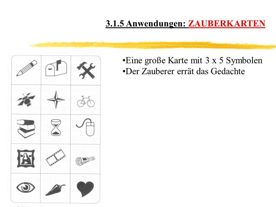 3.1.5 Anwendungen: ZAUBERKARTEN Eine große Karte mit 3 x 5 Symbolen Der Zauberer errät das Gedachte