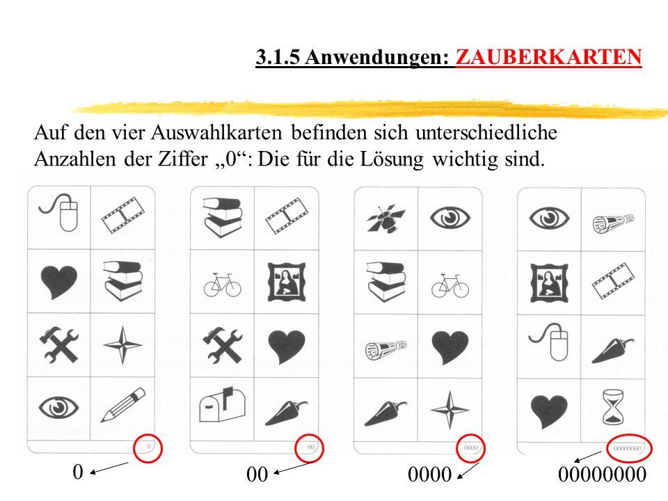 3.1.5 Anwendungen: ZAUBERKARTEN Auf den vier Auswahlkarten befinden sich unterschiedliche Anzahlen der Ziffer 0: Die für die Lösung wichtig sind.
