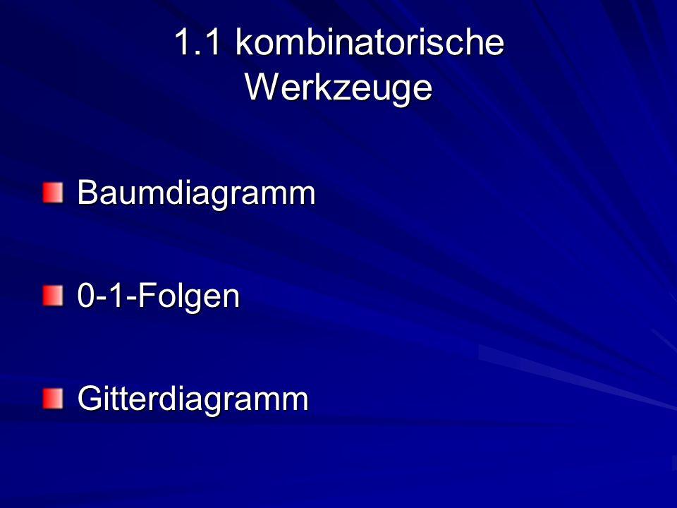 1.1 kombinatorische Werkzeuge Baumdiagramm Baumdiagramm 0-1-Folgen 0-1-Folgen Gitterdiagramm Gitterdiagramm