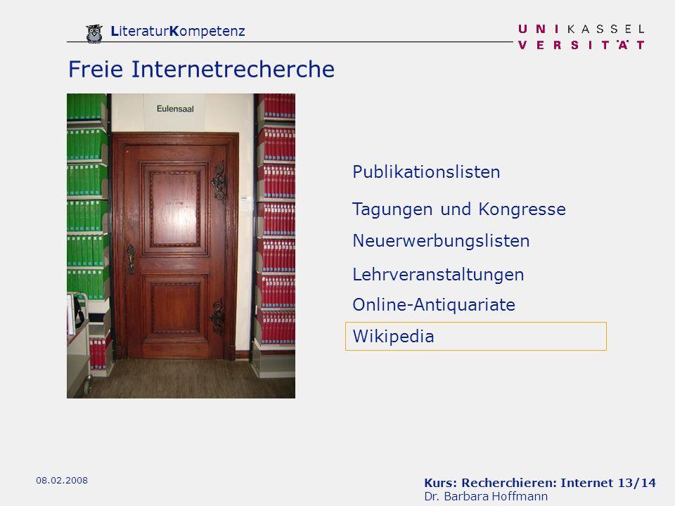 Kurs: Recherchieren: Internet 13/14 Dr.