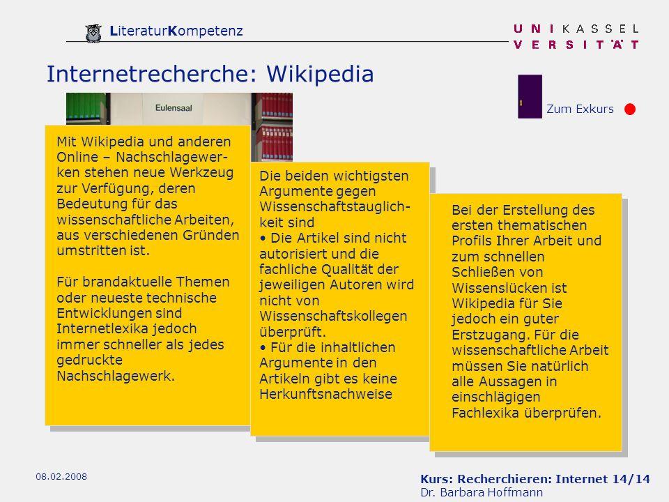 Kurs: Recherchieren: Internet 14/14 Dr.