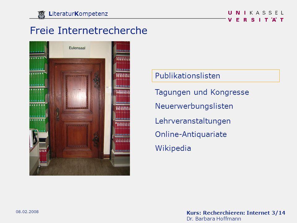 Kurs: Recherchieren: Internet 4/14 Dr.