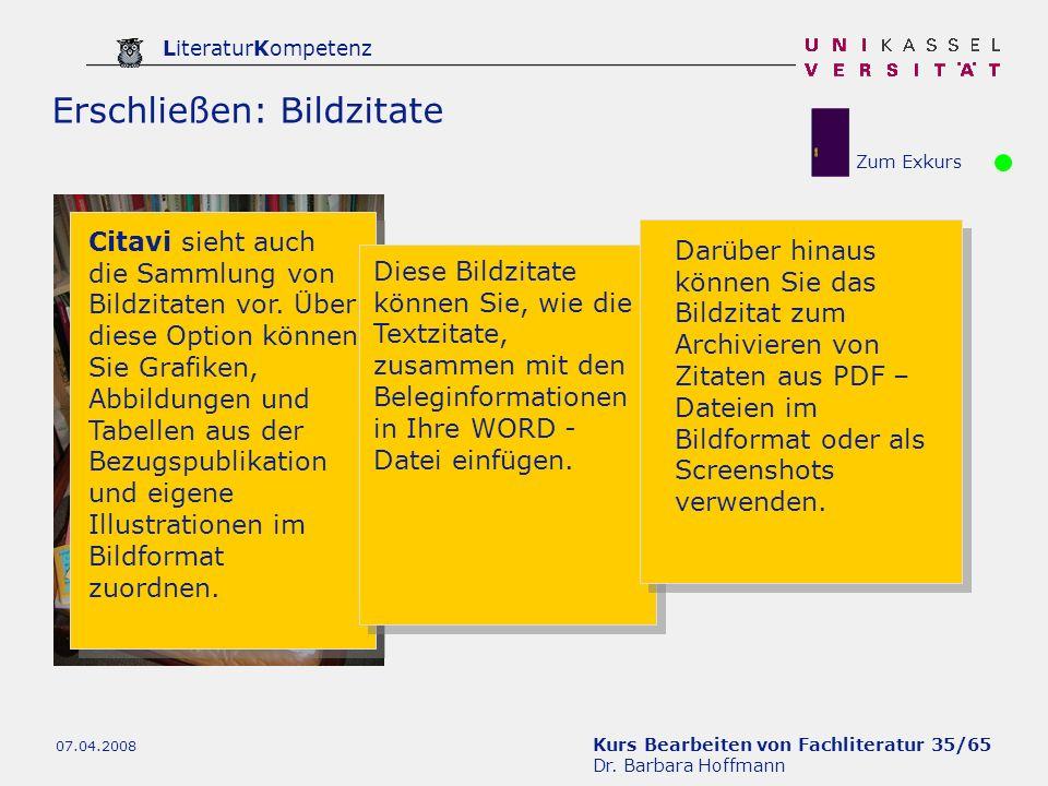 Kurs Bearbeiten von Fachliteratur 35/65 Dr. Barbara Hoffmann LiteraturKompetenz 07.04.2008 Erschließen: Bildzitate Citavi sieht auch die Sammlung von