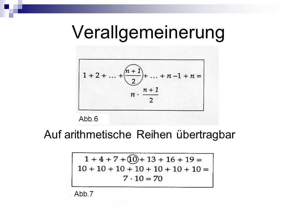 Verallgemeinerung Auf arithmetische Reihen übertragbar Abb.6 Abb.7