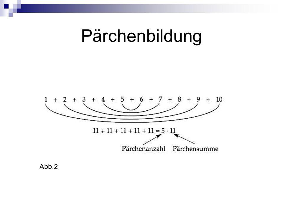 Geschickt addieren durch Einsatz von Treppen Arithmetische Reihe (d=3): 107=70 147131619 10 -9-6-30+3+6+9 Diese Operation (Ausgleich um die Mittelzahl) kann auch durch Treppen veranschaulicht werden: Und andersherum.