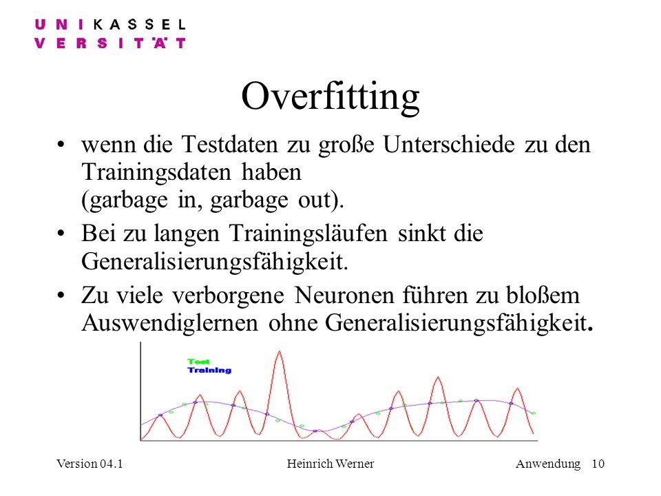 Version 04.1Heinrich WernerAnwendung 10 Overfitting wenn die Testdaten zu große Unterschiede zu den Trainingsdaten haben (garbage in, garbage out).