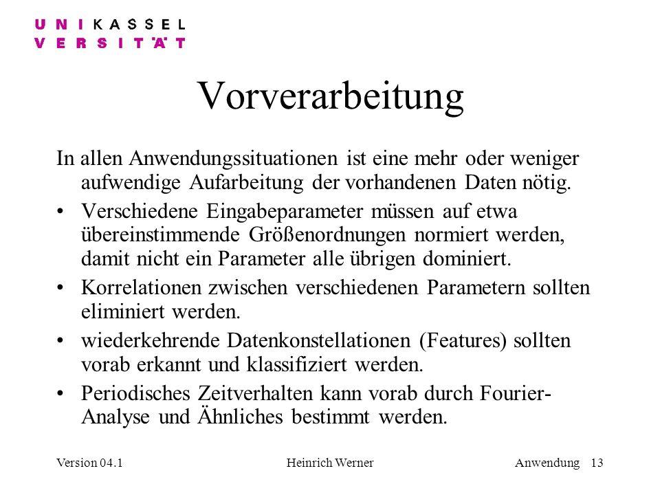 Version 04.1Heinrich WernerAnwendung 13 Vorverarbeitung In allen Anwendungssituationen ist eine mehr oder weniger aufwendige Aufarbeitung der vorhandenen Daten nötig.