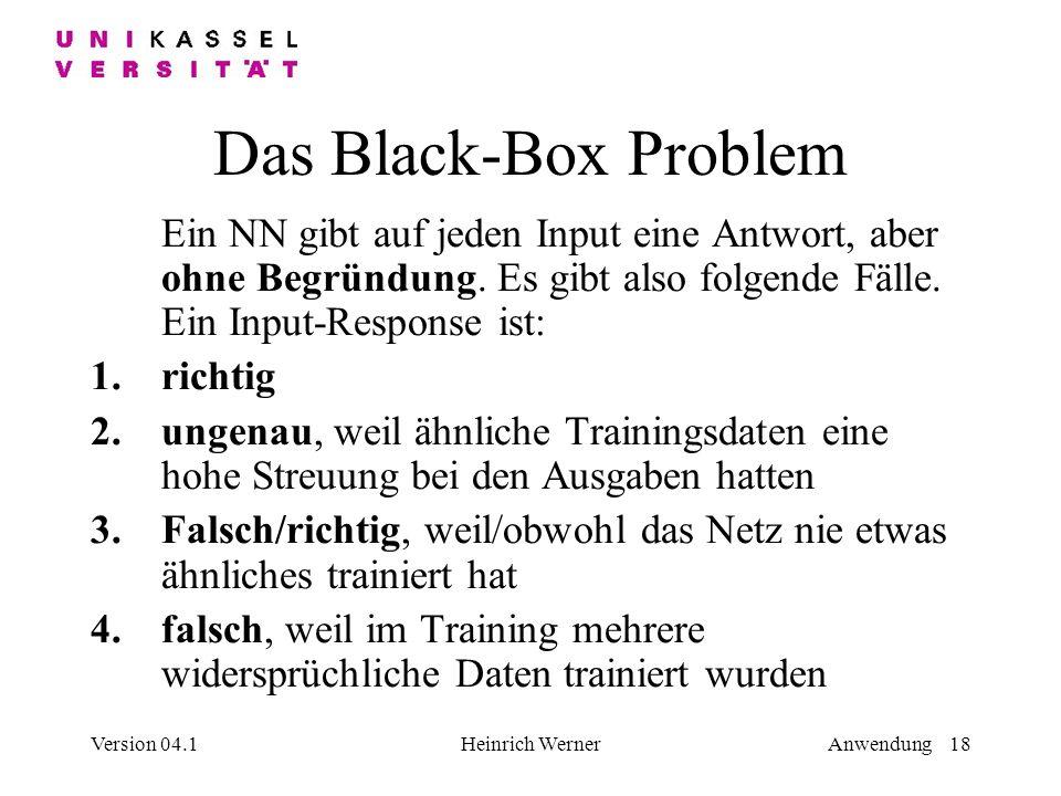 Version 04.1Heinrich WernerAnwendung 18 Das Black-Box Problem Ein NN gibt auf jeden Input eine Antwort, aber ohne Begründung.