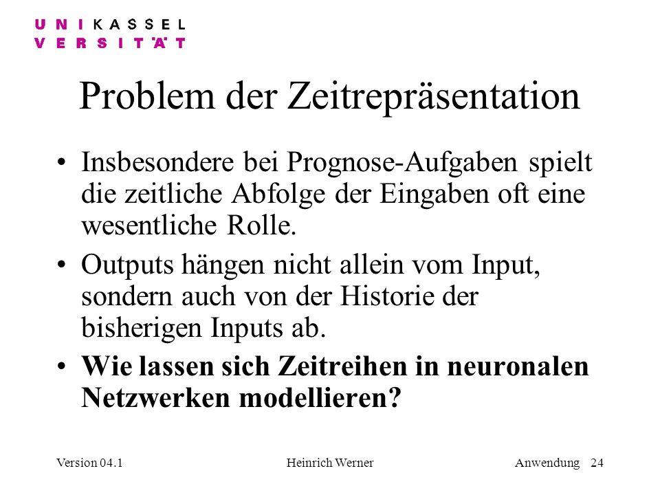 Version 04.1Heinrich WernerAnwendung 24 Problem der Zeitrepräsentation Insbesondere bei Prognose-Aufgaben spielt die zeitliche Abfolge der Eingaben oft eine wesentliche Rolle.