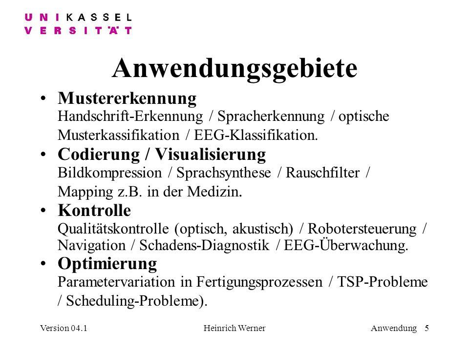 Version 04.1Heinrich WernerAnwendung 5 Anwendungsgebiete Mustererkennung Handschrift-Erkennung / Spracherkennung / optische Musterkassifikation / EEG-Klassifikation.