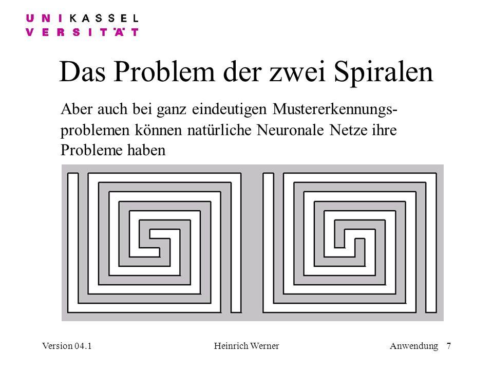Version 04.1Heinrich WernerAnwendung 7 Das Problem der zwei Spiralen Aber auch bei ganz eindeutigen Mustererkennungs- problemen können natürliche Neuronale Netze ihre Probleme haben