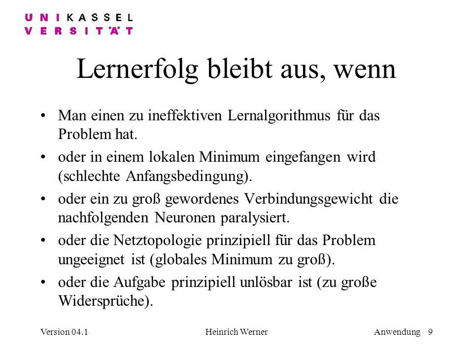 Version 04.1Heinrich WernerAnwendung 9 Lernerfolg bleibt aus, wenn Man einen zu ineffektiven Lernalgorithmus für das Problem hat.