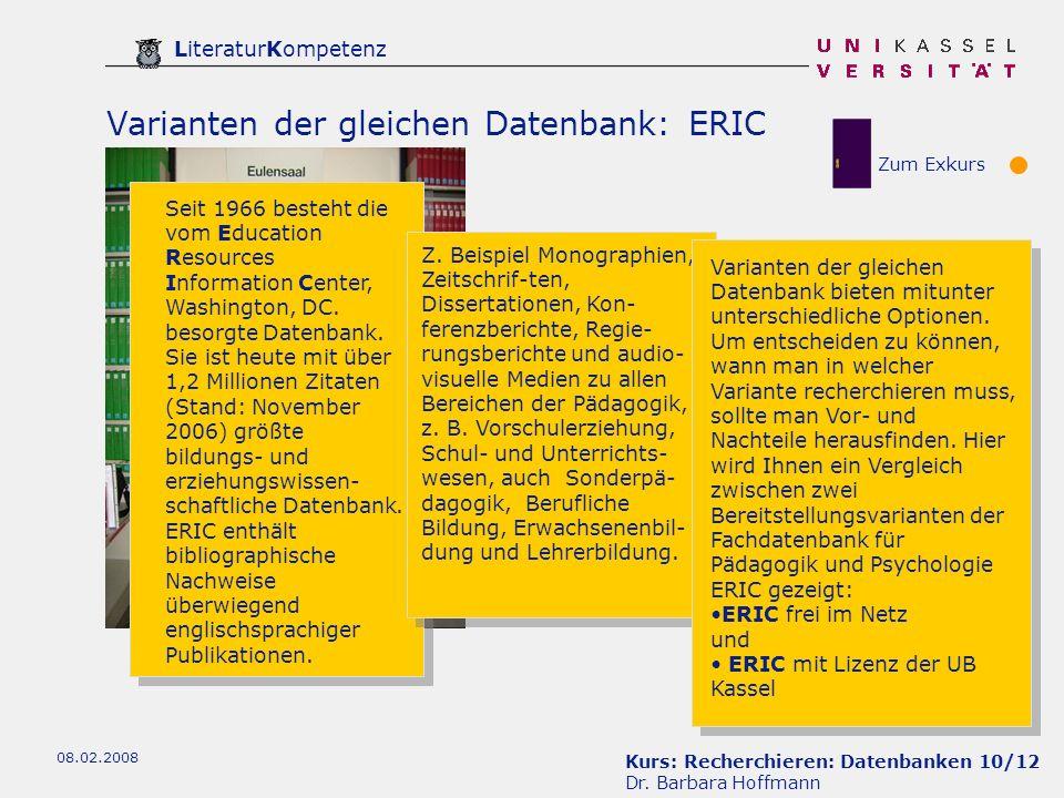 Kurs: Recherchieren: Datenbanken 10/12 Dr.