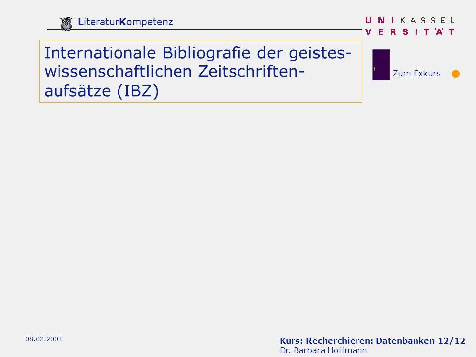 Kurs: Recherchieren: Datenbanken 12/12 Dr.