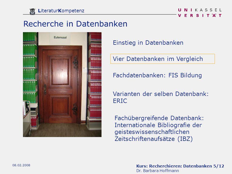 Kurs: Recherchieren: Datenbanken 6/12 Dr.