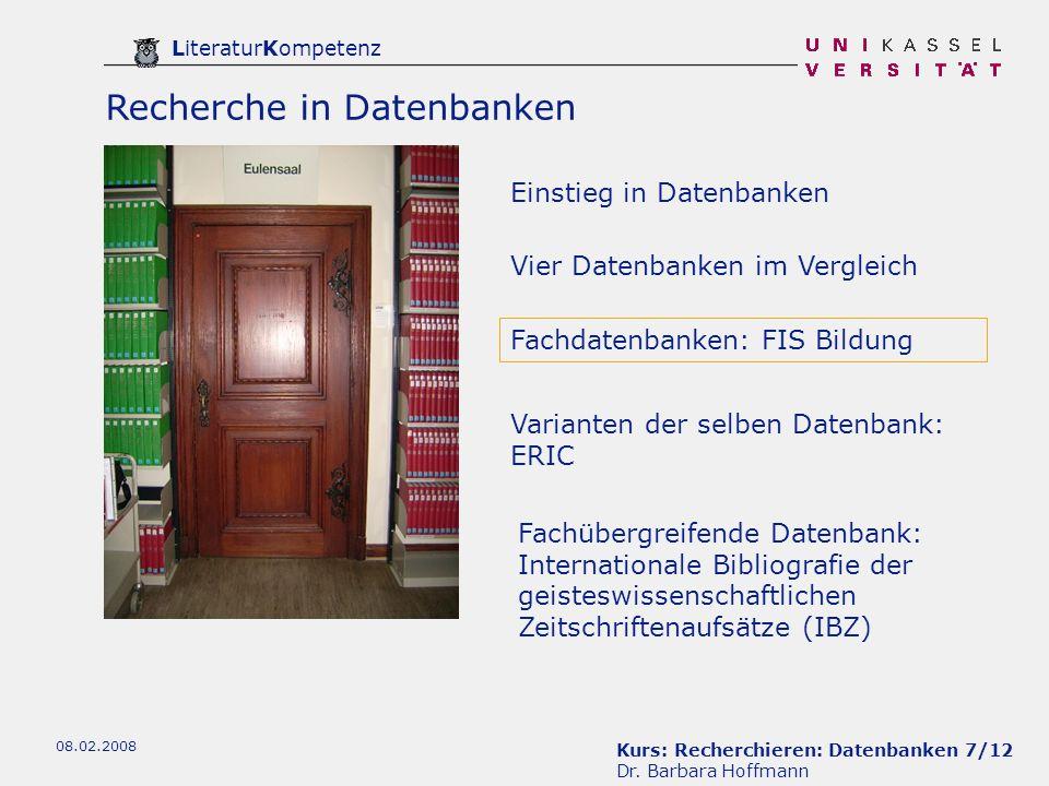 Kurs: Recherchieren: Datenbanken 8/12 Dr.