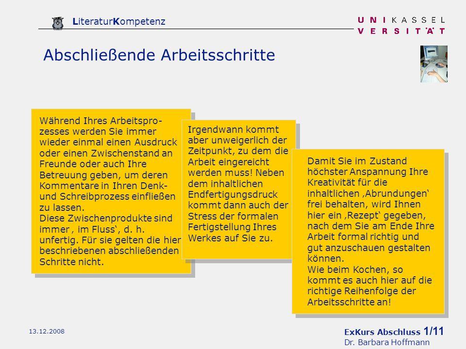 ExKurs Abschluss 2/11 Dr.Barbara Hoffmann LiteraturKompetenz 13.12.2008 1.