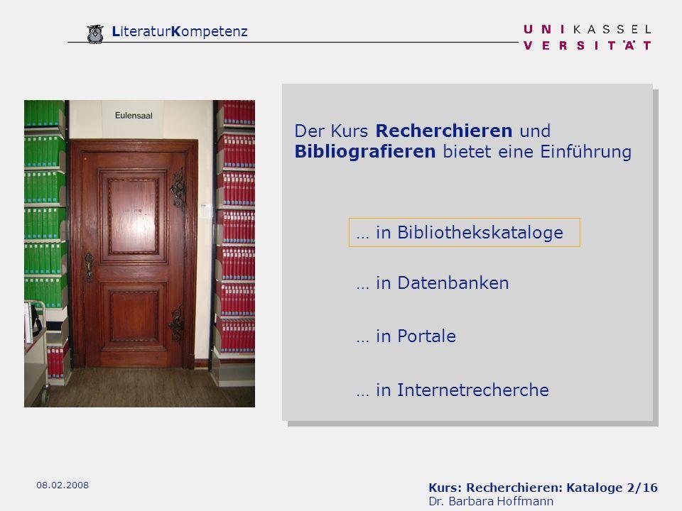 Kurs: Recherchieren: Kataloge 2/16 Dr.