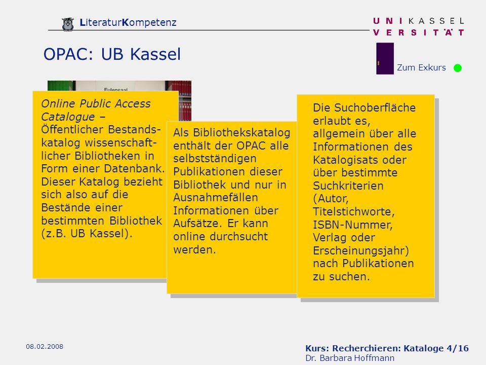 Kurs: Recherchieren: Kataloge 4/16 Dr.