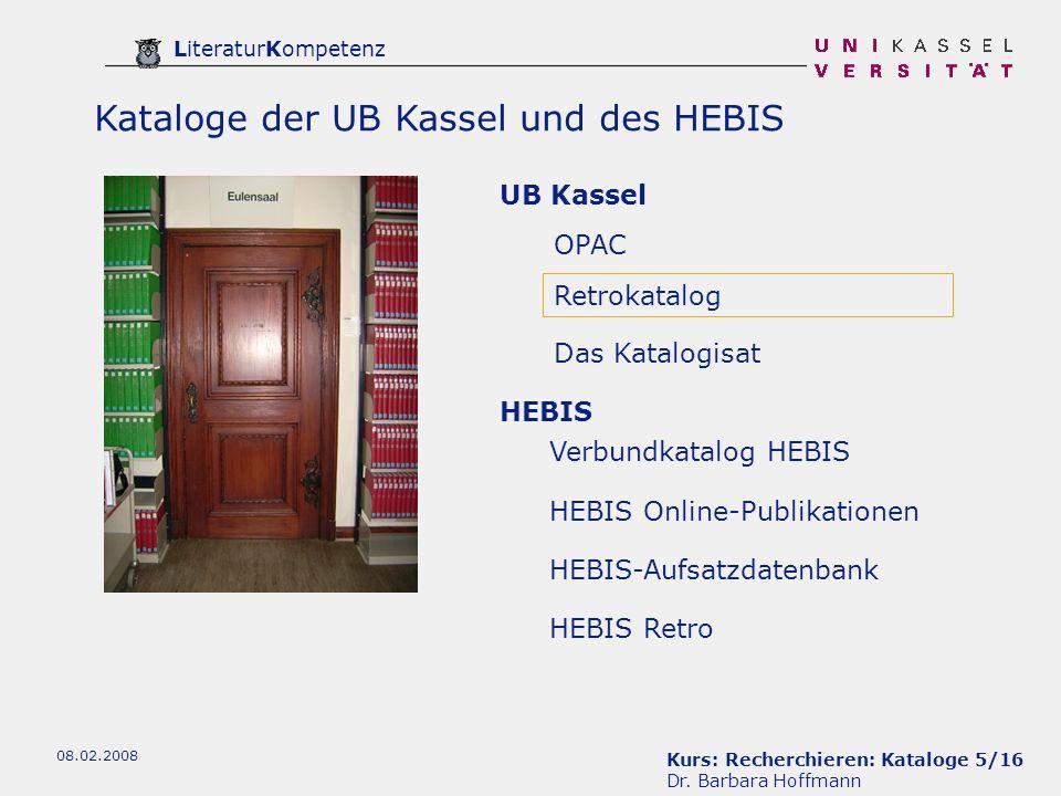 Kurs: Recherchieren: Kataloge 5/16 Dr.