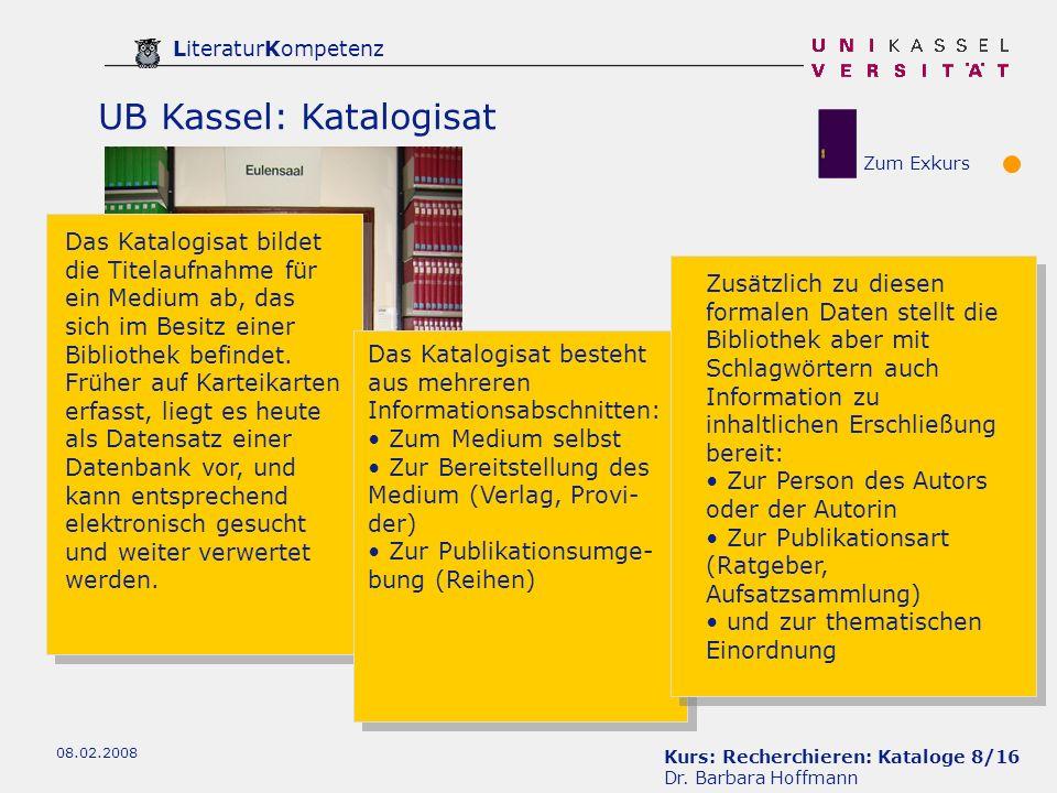 Kurs: Recherchieren: Kataloge 8/16 Dr.