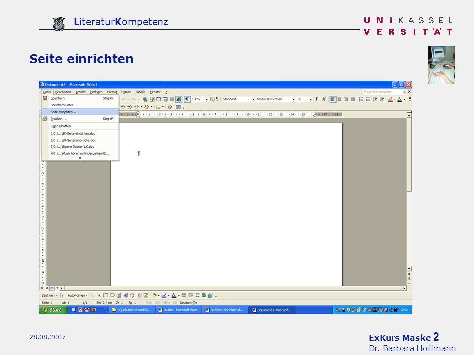 ExKurs Maske 2 Dr. Barbara Hoffmann LiteraturKompetenz 28.08.2007 Seite einrichten
