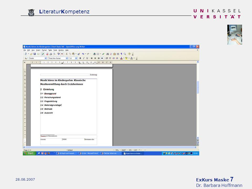 ExKurs Maske 7 Dr. Barbara Hoffmann LiteraturKompetenz 28.08.2007
